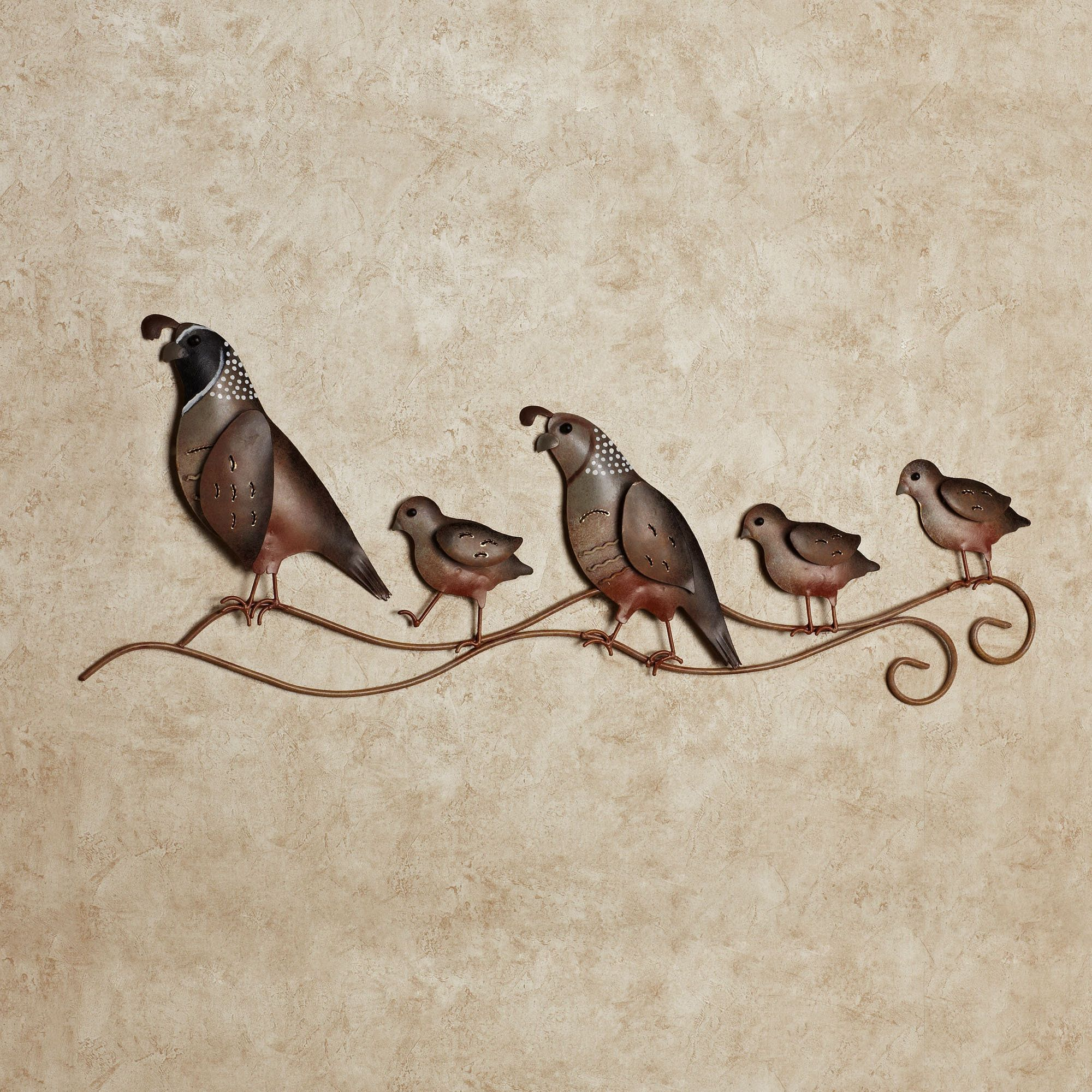 Quail Trail Indoor Outdoor Metal Wall Art
