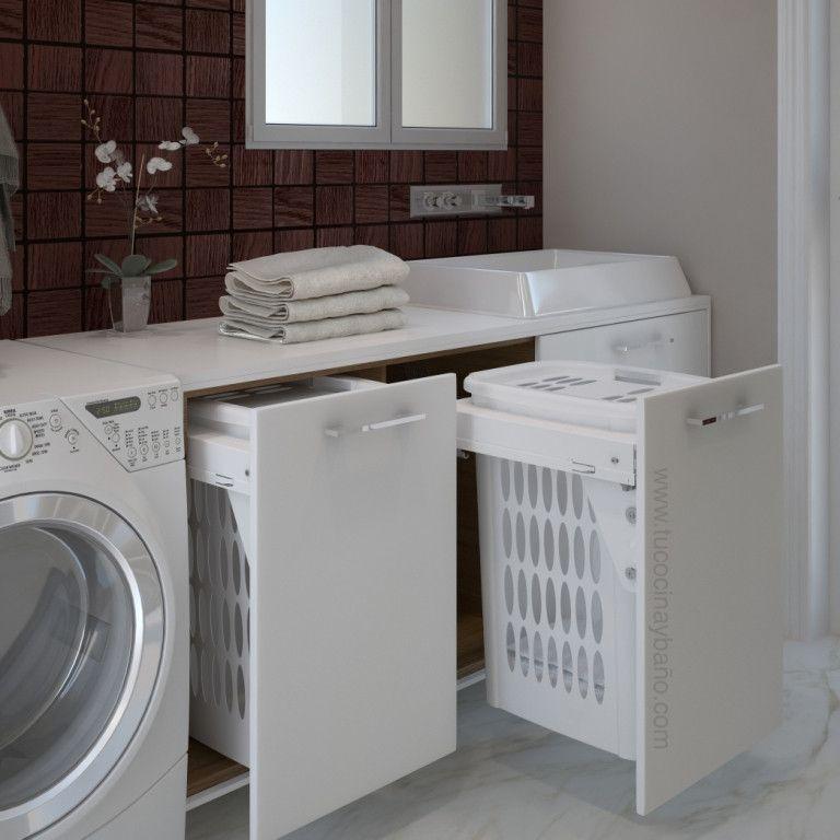 Cesto ropa blanco 45 en 2019 lavaderos mueble para lavadero muebles lavadora y lavaderos - Armario para lavadora ...