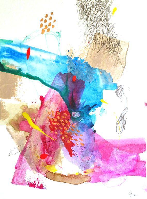 Pintura abstracta díptico Original mixta pintura por VictoriAtelier