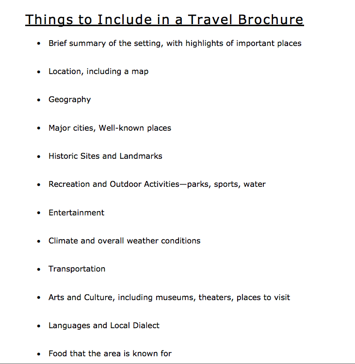 Printable Travel Brochure Template For Kids: Things To Include In A Travel Brochure From Read Write