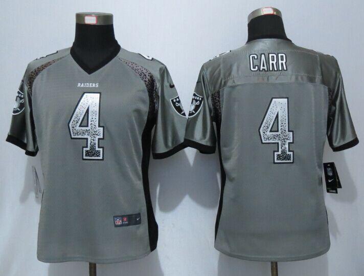 2396503e5 Womens Okaland Raiders 4 Carr Drift Fashion Grey New Nike Elite Jerseys
