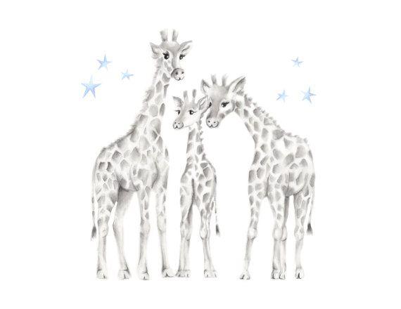 Giraffe Nursery Art, Safari Nursery, Family, Jungle Animal ...