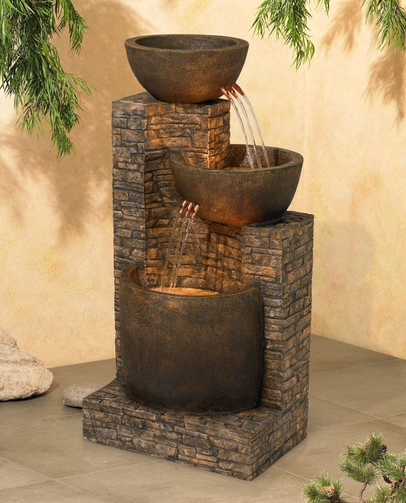 Water Fountain Outdoor Indoor Floor 2 Basins Portable Crafted Polynesian Johntimberlan Fountains Outdoor Decorative Water Fountain Water Fountains Outdoor