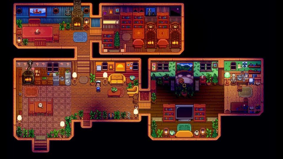 My Most Recent House I Wanted Each Room To Be Different But Still Some What Cohesive Stardewhomede In 2021 Stardew Valley Stardew Valley Layout Stardew Valley Farms