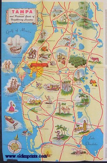 Official Map of the City of Tampa Florida and Vicinity. Tampa 1957 on