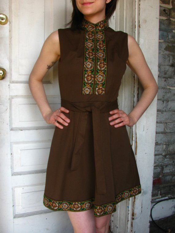 vintage chocolate brown mod scooter dress with green and gold brocade ribbon accents from www.etsy.com/shop/aNewLifeForYou