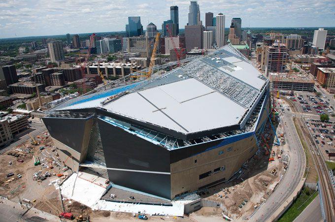 U S Bank Stadium Minnesota Multi Purpose Stadium Aerial Vikings Stadium Stadium Minnesota Lake