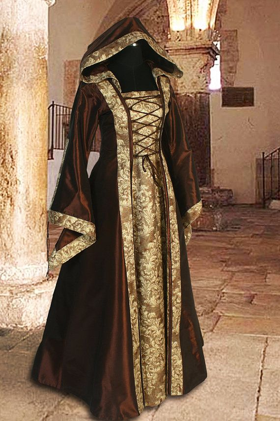 Medieval Dress Gown Renaissance Costume Clothing with hood Sorceress ...