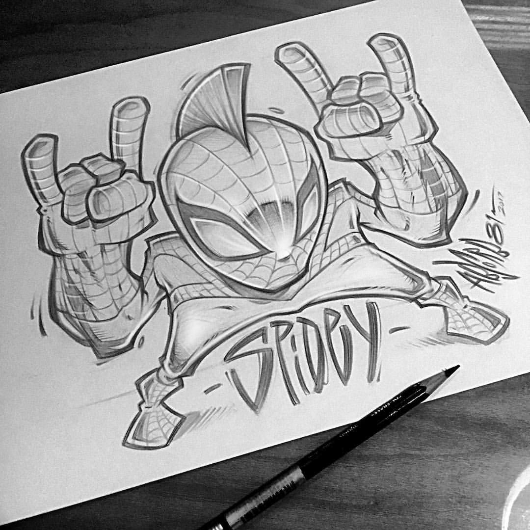Spidey I Was Just Messing Around But I Might Make Some Stickers Of This Little Guy Spiderman Graffiti Characters Graffiti Cartoons Cartoon Character Design