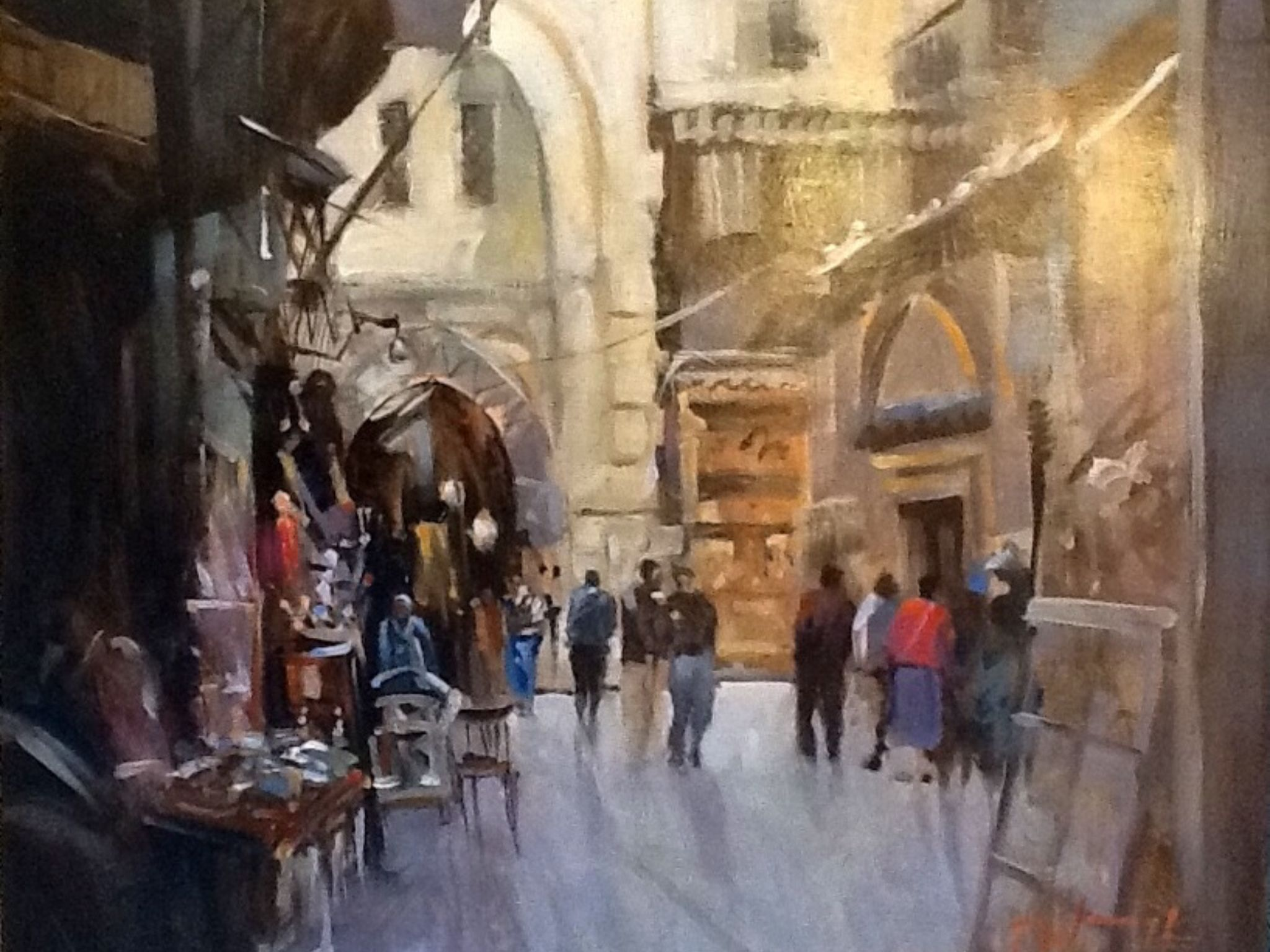 """The old Souk, Cairo"" oil on board by Trevor Waugh"