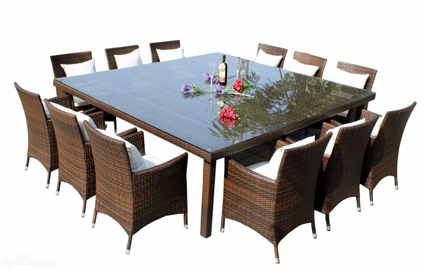 Outdoor Wicker Rattan Square Dinning Table Seats 12 People Mesas