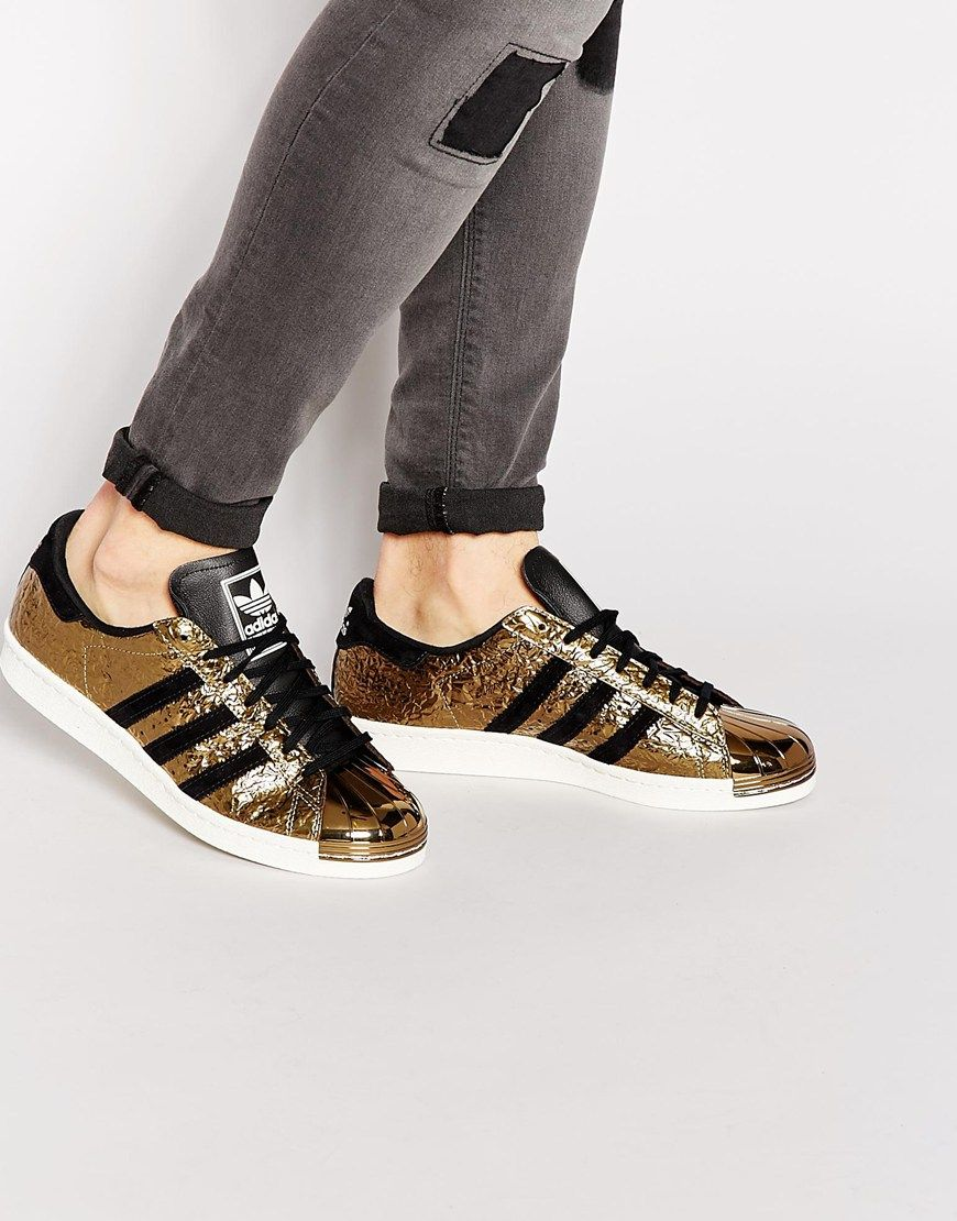 adidas originals superstar 80s with a metallic rose gold toe