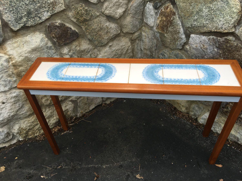 Mid Century Modern Danish Tile Sofa Table - Teak Console Tile Table - Teak Mobelfabrik Toften Danish Sofa Table - Scandanavian Sofa Table by DareToBeVintage on Etsy