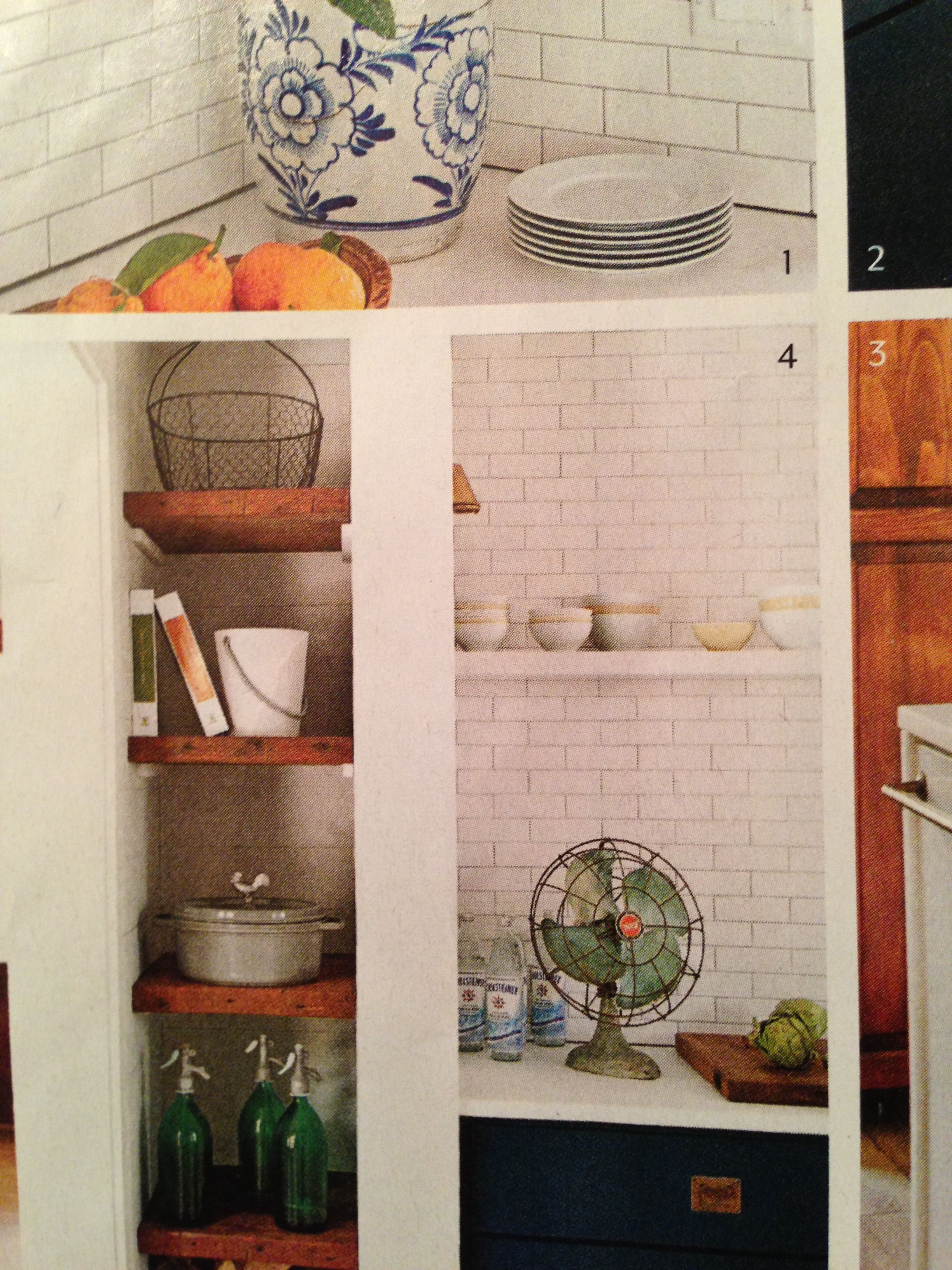 White subway tiles and reclaimed wood shelves darien tudor white subway tiles and reclaimed wood shelves dailygadgetfo Images