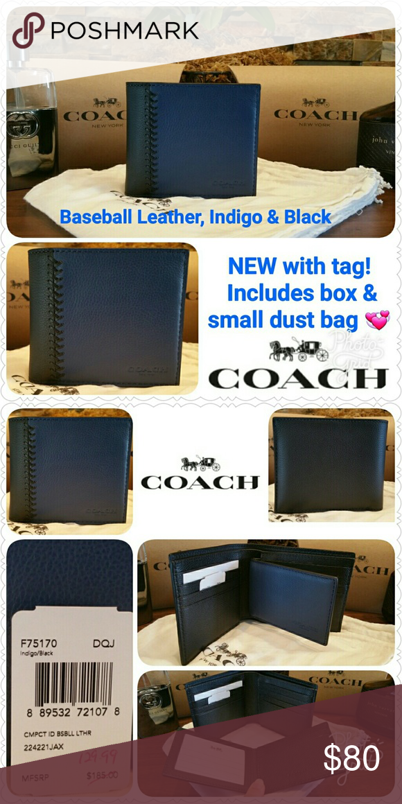 5a62efabade99 NEW Coach Baseball Stitch Wallet w  passcase NEW w  tag   Coach gift  box tissue   Style F75170