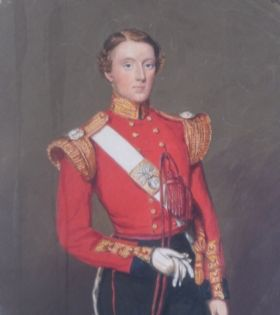 Watercolour portrait of an officer in the 21st Royal North British Fusiliers
