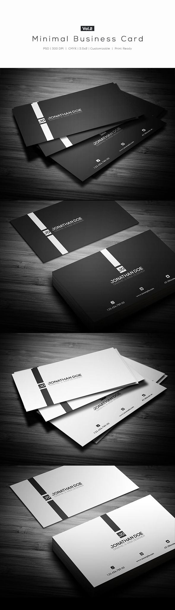 minimal business card vol 22 different colors white