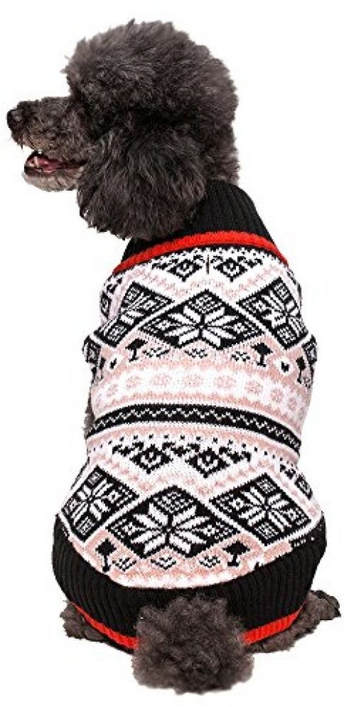 Dog Sweater Pet Black White Snowflakes Nordic Inspired Fair Isle ...