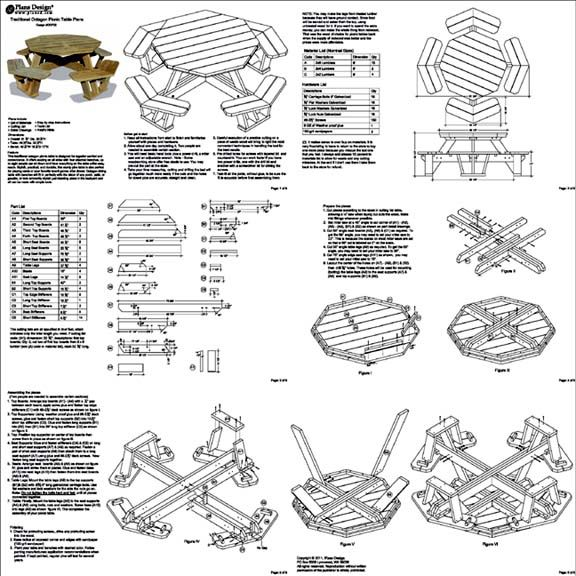 Traditional octagon picnic table woodworking plans pattern odf06 free pattern hexagon picnic table our plans are on paper generated directly from auto cad drawings and watchthetrailerfo