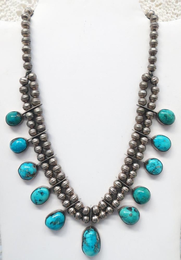BEAUTIFUL OLD PAWN TURQUOISE AND STERLING SILVER NECKLACE ...
