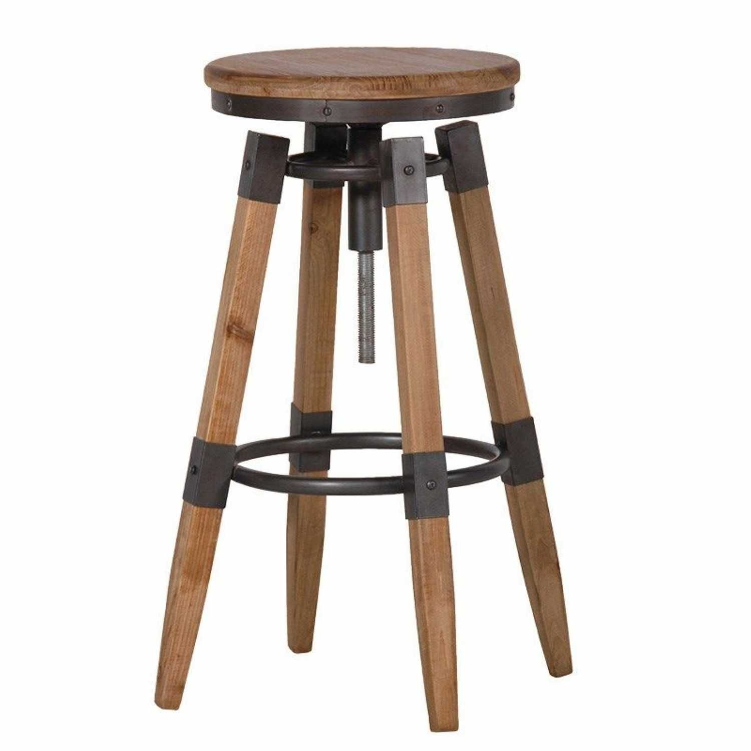 Set Of 4 Adjustable Urban Chic Wood Metal Kitchen Breakfast Bar Stools