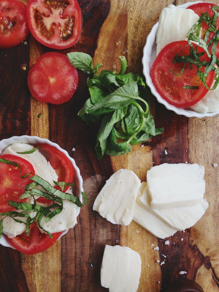 mozzarella cheese, fresh tomatoes and basil, and a splash of balsamic vinegar