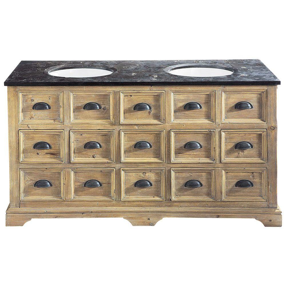 mueble doble seno de madera y mrmol an 160 cm - Meuble Ancien Salle De Bain