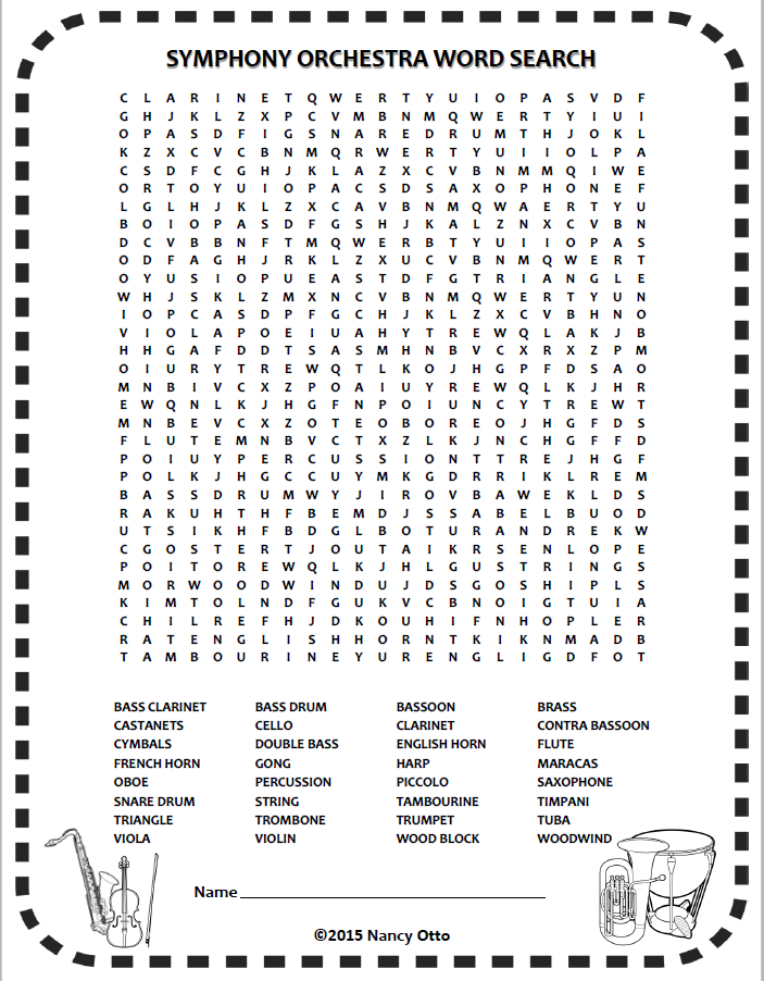 INSTRUMENTS of the ORCHESTRA word-search! One of 24 FREE music ...