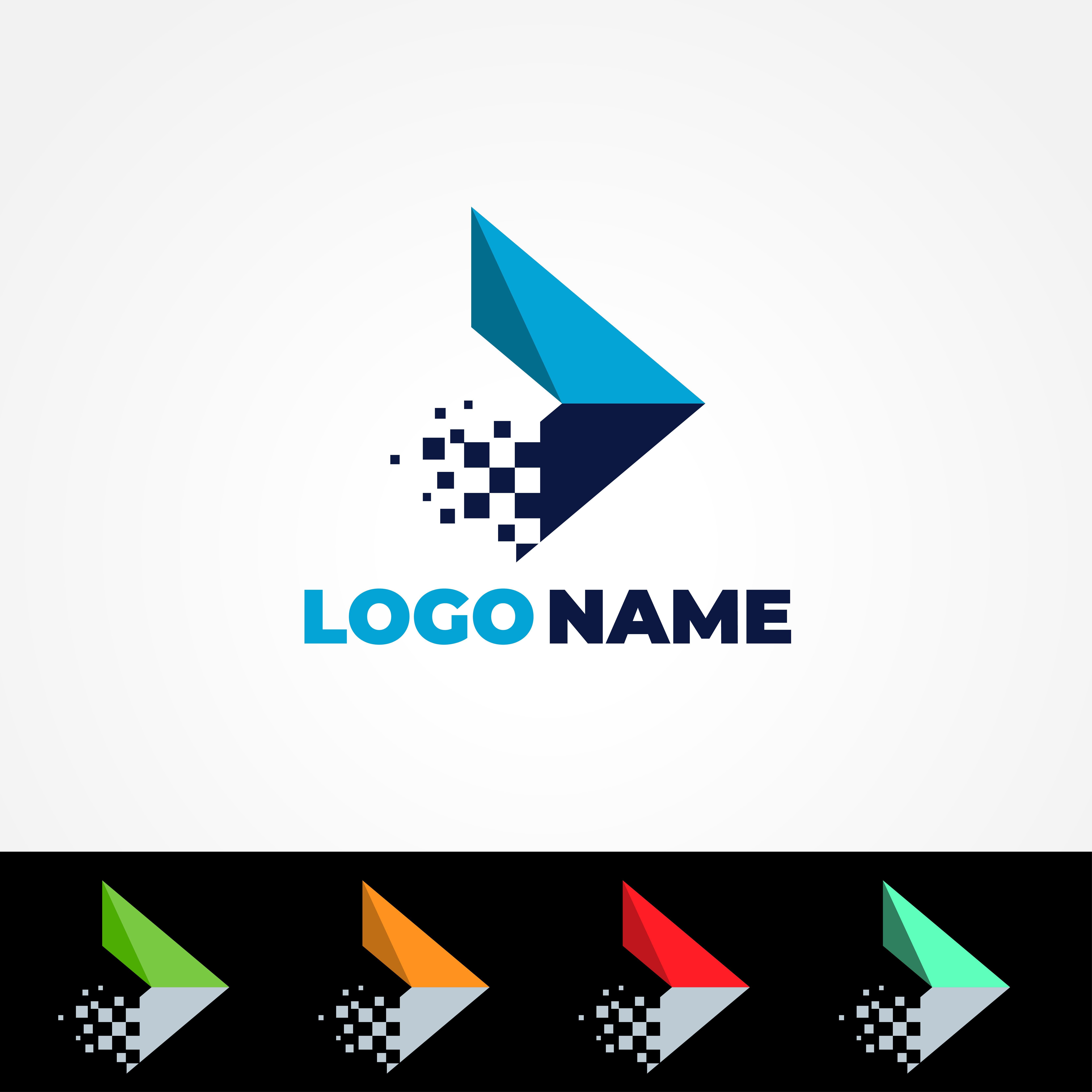 Media Play Pixel Tech Logo logo_design, graphic_design