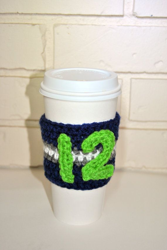 Oh yea. 12th Man Crochet Coffee Cozy! | seahawks | Pinterest ...