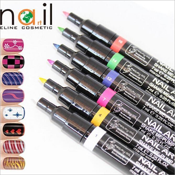16 Colors Nail Painting Art Pen DIY Drawing A Line Pull Pen Nail ...