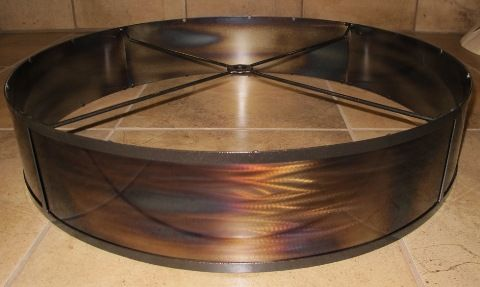 Torched Very Shallow Drum Metal Lamp Shade Custom Designed From Customer Drawing And Description