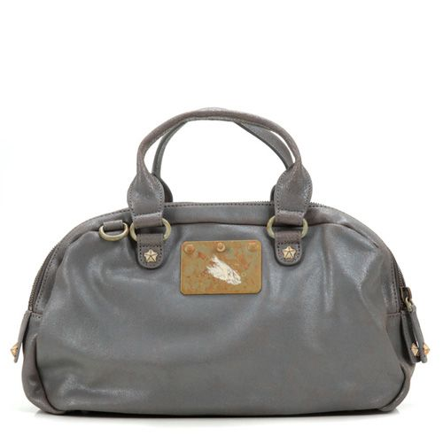 Candice Grey Crash -- Candice is a classic shape combined with a rugged finish given its studded embellishments and metal logo plate. This cool bag is totally versatile, fitting well with boyfriend jeans, a girlish silk dress or even a business suit.