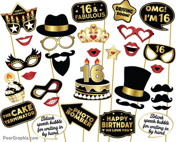 Sweet 16 Photo Booth Props 16th Birthday Decorations Sixteenth Party Teenage