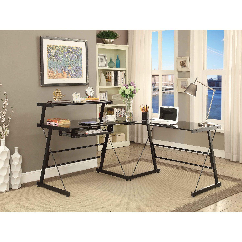 Broderick L Shaped Corner Desk Black Desks Workstations