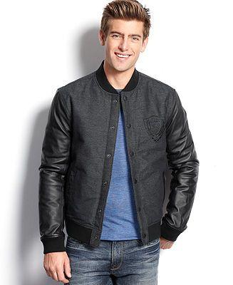 2c2d47d6e GUESS Jackson Faux Leather Sleeve Varsity Jacket - Coats & Jackets ...