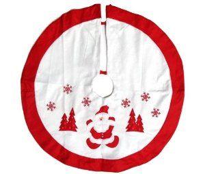 Santa Christmas Tree Skirt Red And White 36
