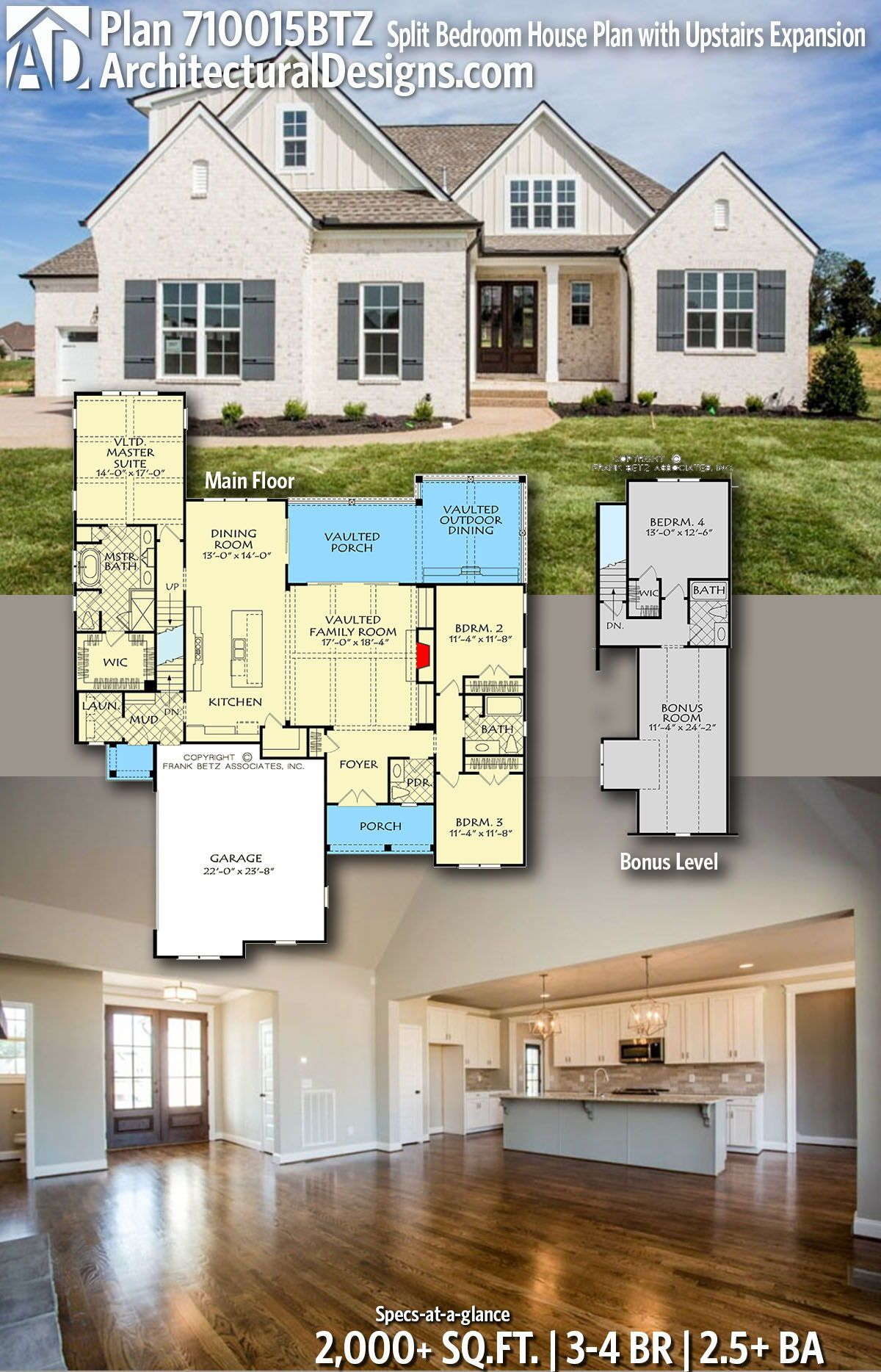 Plan 710015btz Split Bedroom House Plan With Upstairs Expansion House Plans Farmhouse Dream House Plans New House Plans