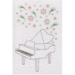 Musical Flowers Piano   Flowers patterns at Stitching Cards.