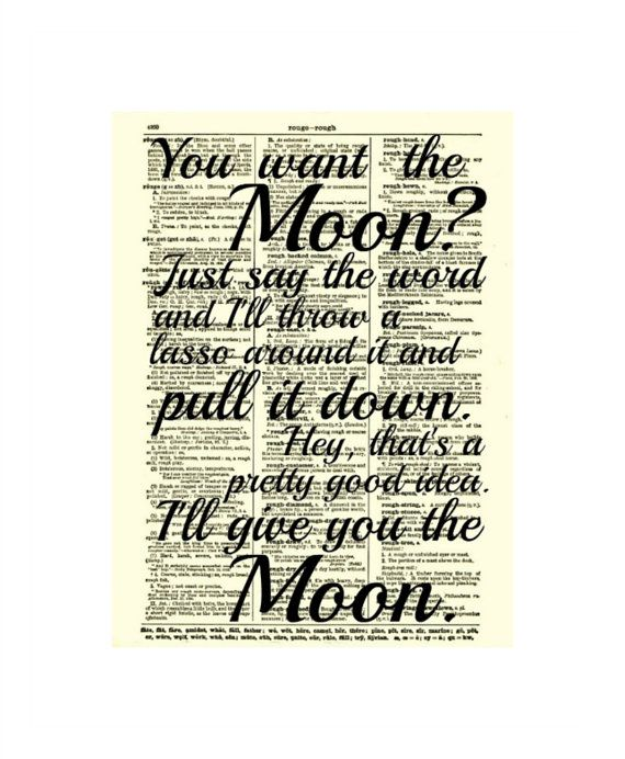 Quote Dictionary You Want The Moon On Etsy A Global Handmade And