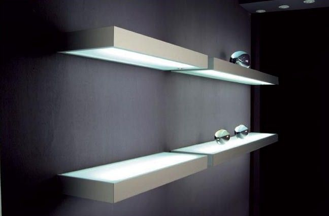 led floating glass shelves led cabinet light supplier. Black Bedroom Furniture Sets. Home Design Ideas