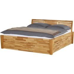 Photo of Solid wood bed frame with bed box – wood-colored – 176 cm – 93 cm – beds> bed frames furniture Kr