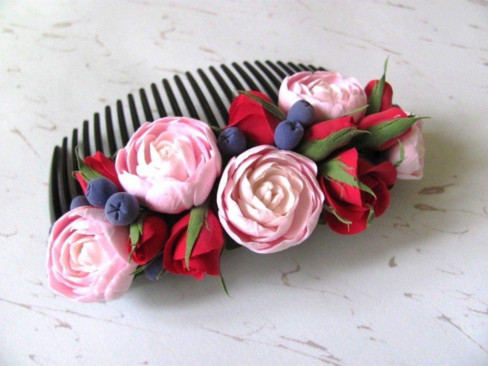 Flower Hair Comb HANDCRAFTED Fashion polymer clay floral cute Hair Comb HANDMADE | eBay