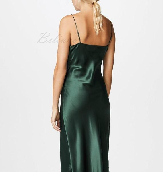 3e707a6e4040d MANY COLORS Silk dark green Dress/ Green Slip Dress/ Silk Slip Dress ...
