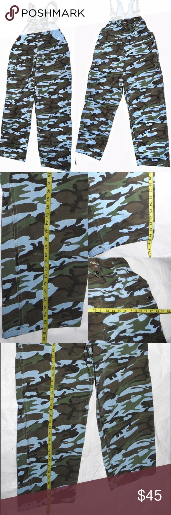 walls ranchwear denim bib overall blue camo xl blue camo on walls hunting coveralls id=23405