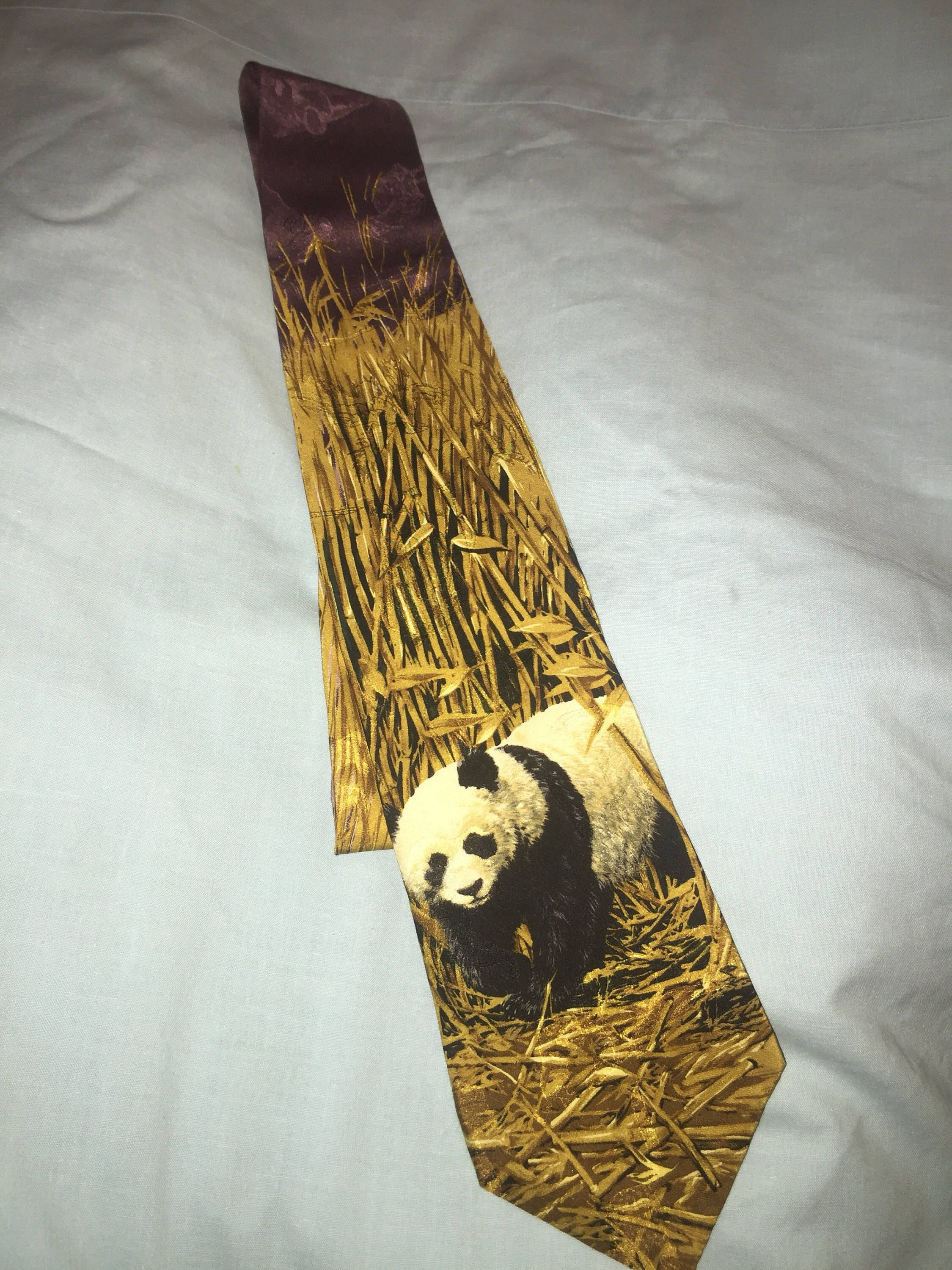 Home interior endangered species panda bear necktie panda in a bamboo field endangered species