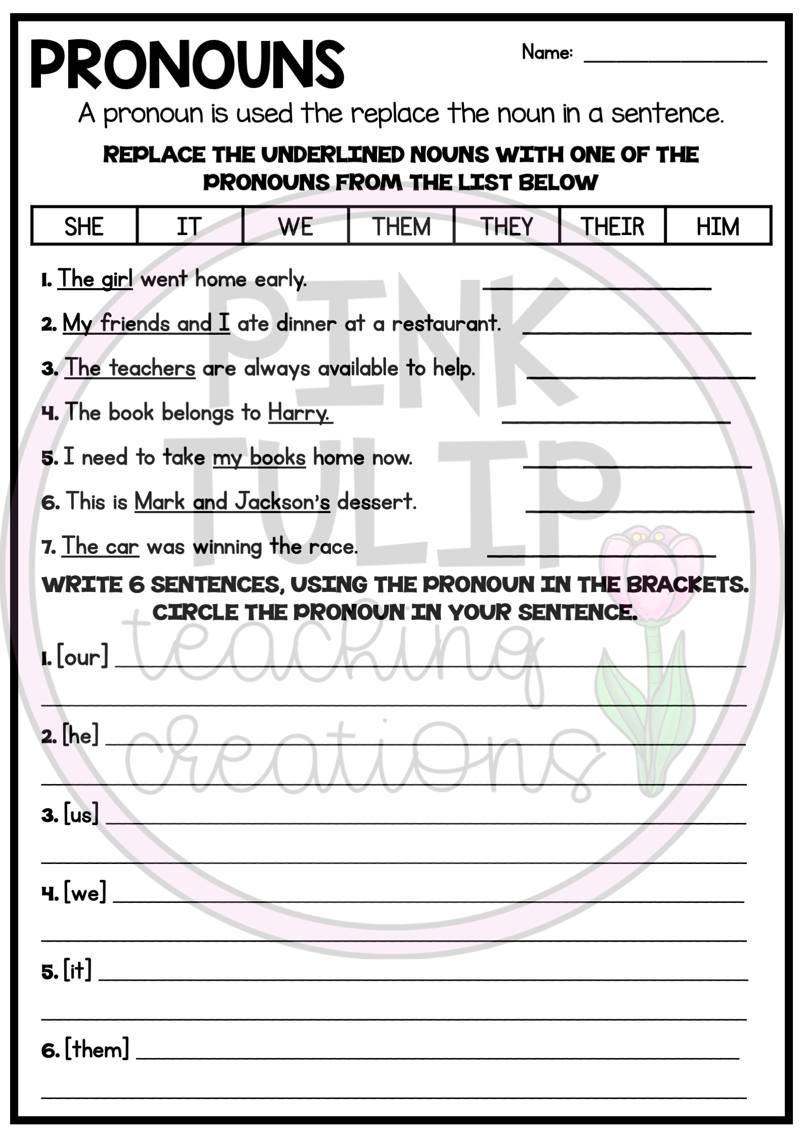 Understanding Pronouns Worksheets