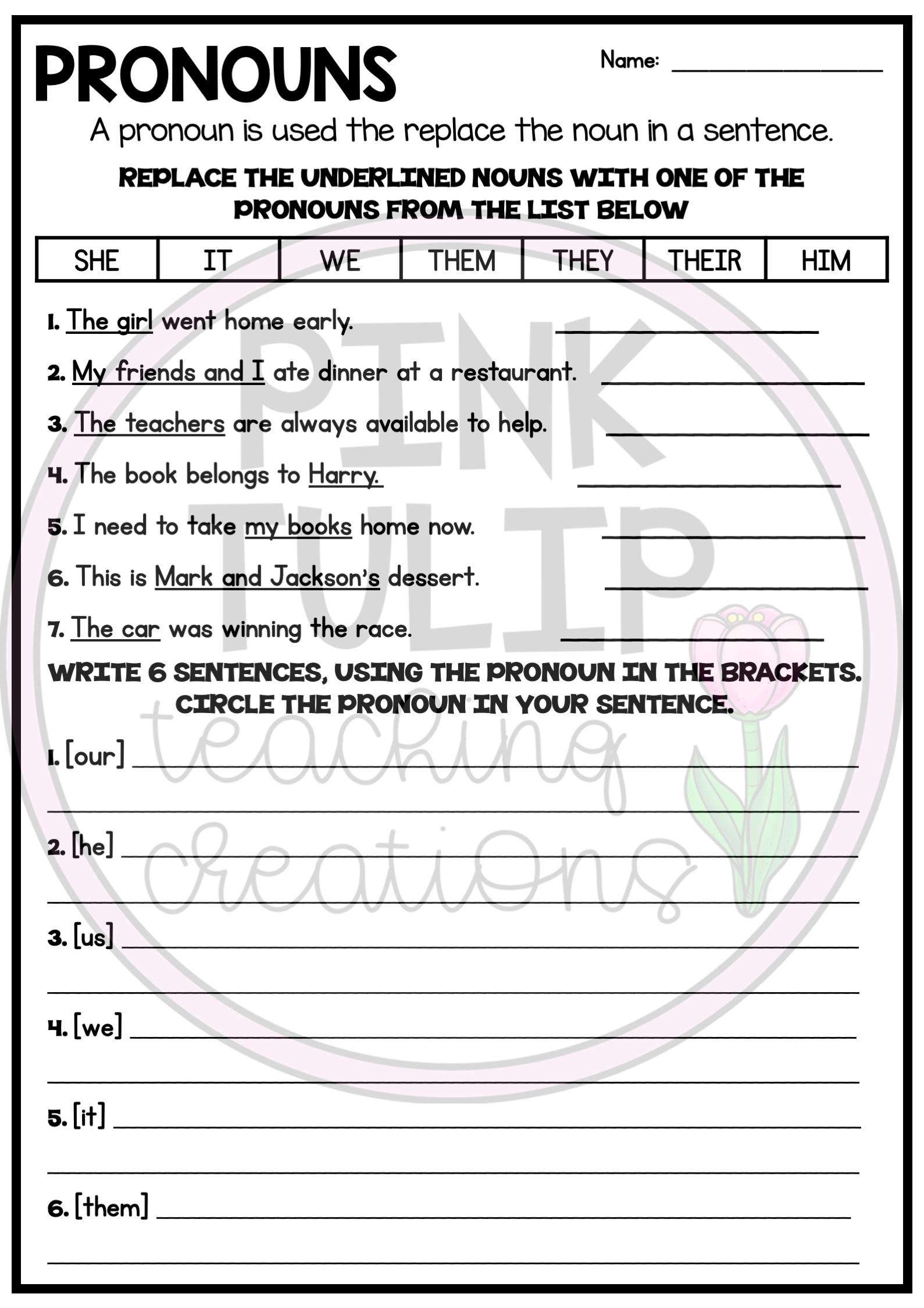 Understanding Pronouns Worksheets