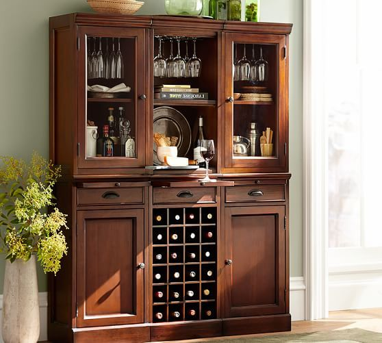 Modular Bar System With 2 Glass Door Hutch And 1 Open