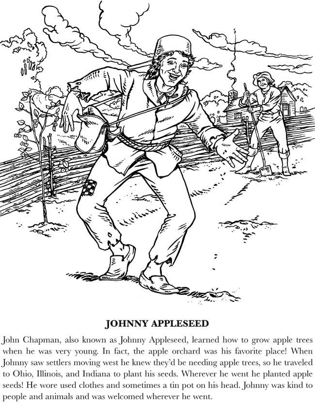johnny appleseed coloring pages  coloring pages for kids